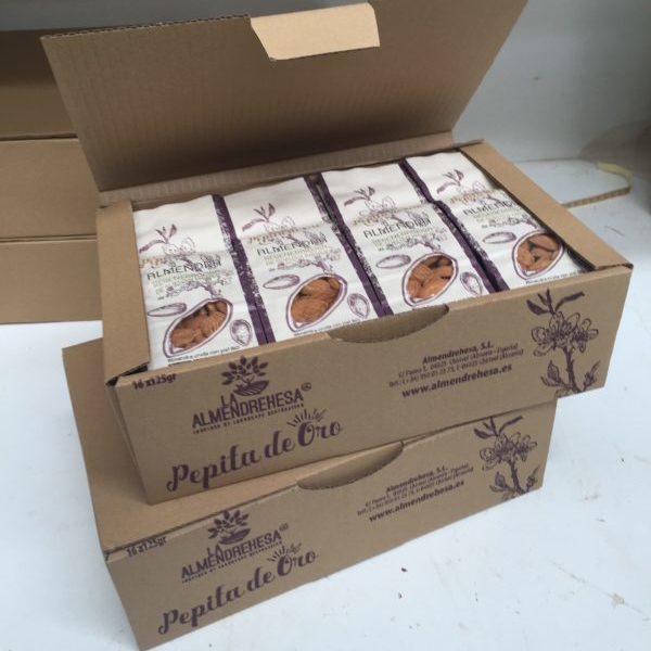 Boxes full of regenerative almonds